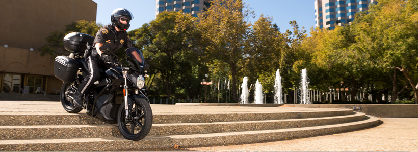 Zero Motorcycles electric police motorcycle patrolling in park